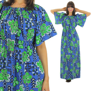 Boho hippie clover caftan maxi dress Hawaiian Shamrock loose fit Kaftan  L - shabbybabe  - 2