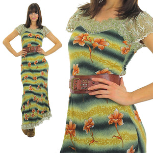 70s Boho Hippie Ombre striped floral maxi dress - shabbybabe  - 2