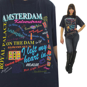 80s Amsterdam shirt travel Cotton tee shirt Oversized tourist - shabbybabe  - 2