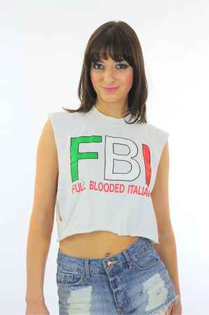 FBI shirt Italian shirt White shirt cropped shirt Crop top Cut off shirt Upcycled shirt Cotton tee shirt Large tee shirt Belly shirt - shabbybabe  - 1