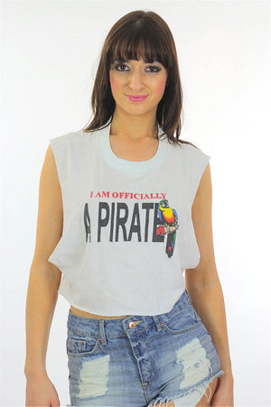 Pirate shirt Cut off shirt White tee shirt Crop top Cropped shirt Cut off tee shirt Muscle shirt Sleeveless shirt Upcycled shirt large shirt - shabbybabe  - 2