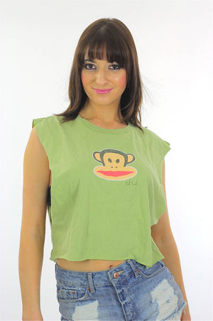 Monkey shirt Paul Frank shirt Cut off shirt Crop top Cropped tee Cotton tee Green shirt Animal shirt Retro shirt Animated shirt Large shirt - shabbybabe  - 2
