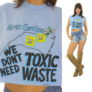 Toxic Waste Tshirt North Carolina Tshirt  Cut off tee shirt Muscle shirt  Sleeveless shirt belly shirt Cropped shirt Environmental Tshirt - shabbybabe  - 1