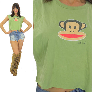 Monkey shirt Paul Frank shirt Cut off shirt Crop top Cropped tee Cotton tee Green shirt Animal shirt Retro shirt Animated shirt Large shirt - shabbybabe  - 1