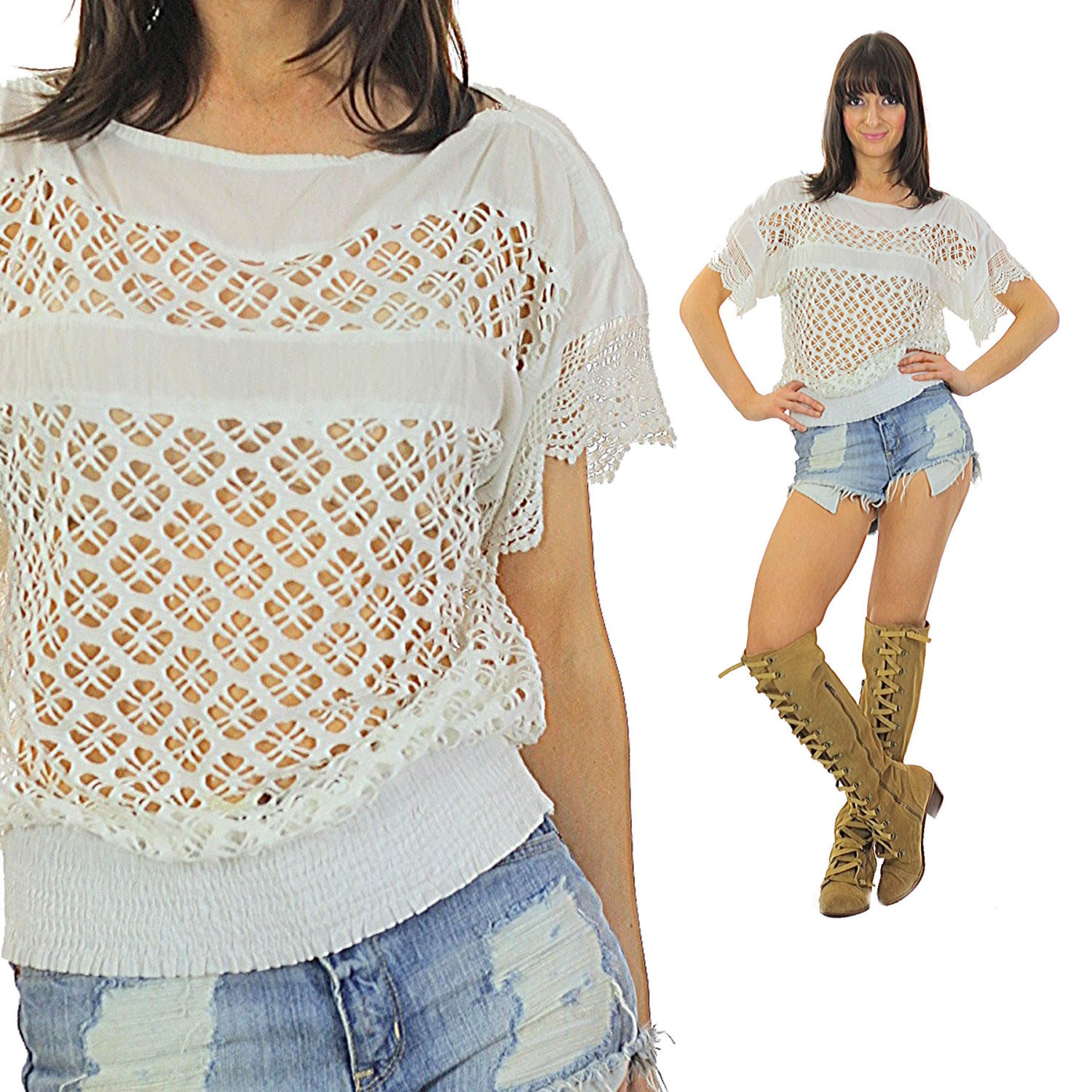 5df153a0bfad7 Vintage 70s White lace top lace shirt sheer top Floral top Bohemian shirt  Hippie shirt Gypsy