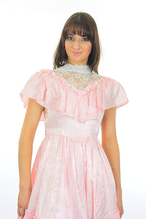 Jessica McClintock dress pink prairie Boho party Vintage 1980 pastel pink lace Bridal gown high waisted Small - shabbybabe  - 5