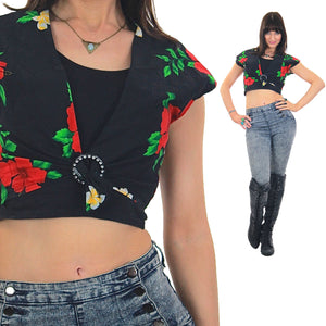 Floral Crop top Black belly Cropped Cotton Boho Deep V plunging Hawaiian cap sleeve Vintage 1980s Retro Hipster Medium - shabbybabe  - 2