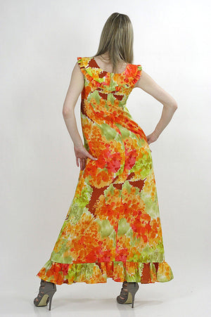 Boho Hippie floral tie dye ethnic Maxi tent dress - shabbybabe  - 4