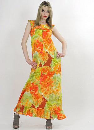 Boho Hippie floral tie dye ethnic Maxi tent dress - shabbybabe  - 1
