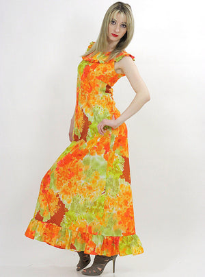Boho Hippie floral tie dye ethnic Maxi tent dress - shabbybabe  - 3