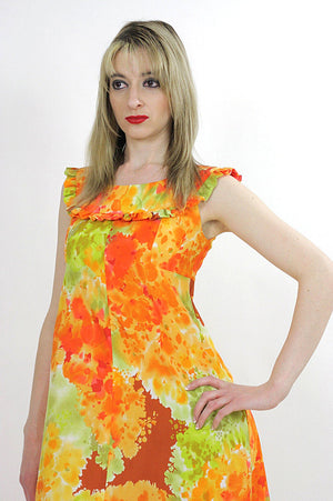 Boho Hippie floral tie dye ethnic Maxi tent dress - shabbybabe  - 5