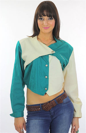 80s Patchwork color block Crop top Jacket - shabbybabe  - 3