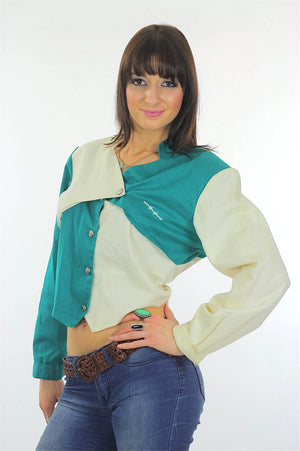 80s Patchwork color block Crop top Jacket - shabbybabe  - 1