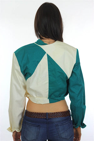 80s Patchwork color block Crop top Jacket - shabbybabe  - 4