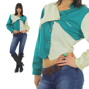 80s Patchwork color block Crop top Jacket - shabbybabe  - 2