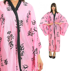 Japanese Kimono robe Pink black maxi Boho Hippie kimono Satin abstract asian ethnic bohemian wrap Large - shabbybabe  - 1