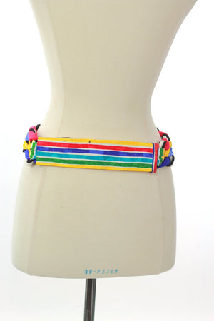 80s Boho Hippie Fabric Gypsy Neon stripe tunic belt - shabbybabe  - 4