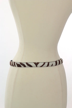 Vintage zebra belt animal belt Leather skinny belt - shabbybabe  - 3