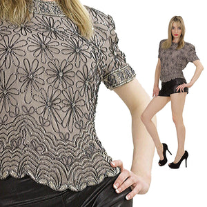 80s Gatsby deco sequin beaded top - shabbybabe  - 2