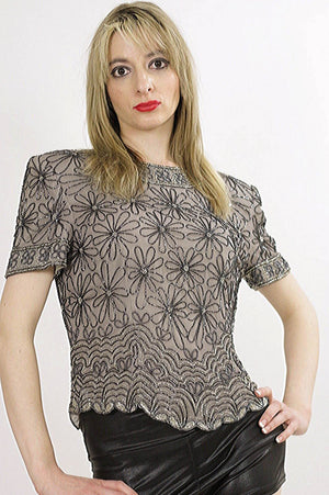 80s Gatsby deco sequin beaded top - shabbybabe  - 1