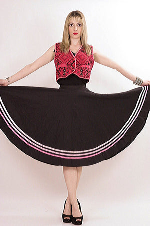 striped Full skirt Black pink Color block Boho Hippie Festival Bohemian Gypsy Cotton swing skirt Medium - shabbybabe  - 3