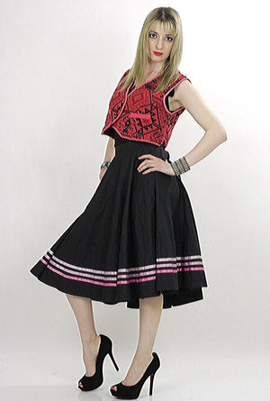 striped Full skirt Black pink Color block Boho Hippie Festival Bohemian Gypsy Cotton swing skirt Medium - shabbybabe  - 4