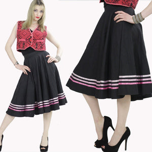striped Full skirt Black pink Color block Boho Hippie Festival Bohemian Gypsy Cotton swing skirt Medium - shabbybabe  - 1