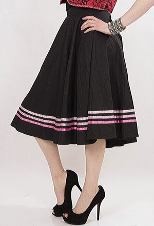 striped Full skirt Black pink Color block Boho Hippie Festival Bohemian Gypsy Cotton swing skirt Medium - shabbybabe  - 2