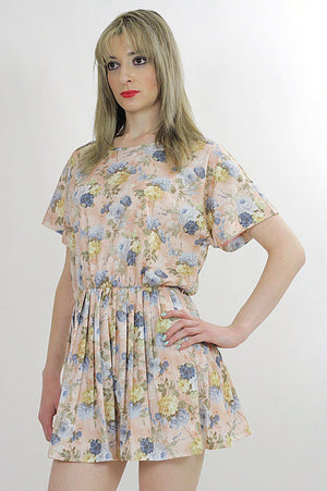 80s pastel floral dress pleated short sleeve elastic waist - shabbybabe  - 1