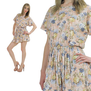 80s pastel floral dress pleated short sleeve elastic waist - shabbybabe  - 2