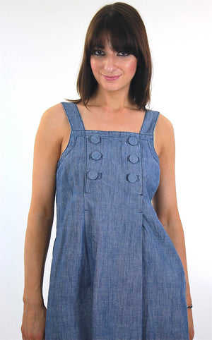 Vintage 90s Grunge blue chambray mini sun dress - shabbybabe  - 1