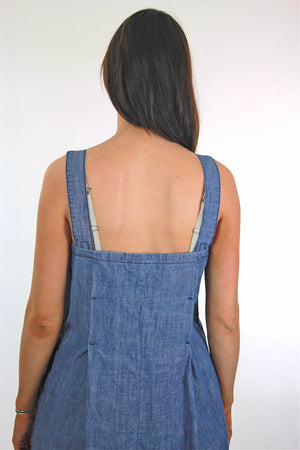 Vintage 90s Grunge blue chambray mini sun dress - shabbybabe  - 4