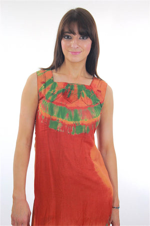 70s Boho hippie tie dye border design mini sun dress - shabbybabe  - 1