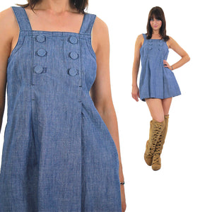 Vintage 90s Grunge blue chambray mini sun dress - shabbybabe  - 5