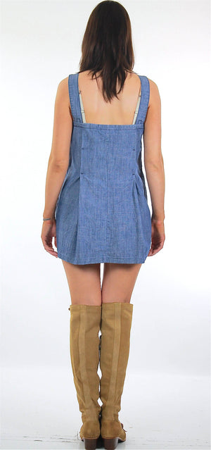 Vintage 90s Grunge blue chambray mini sun dress - shabbybabe  - 3