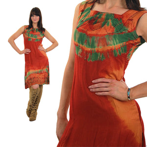 70s Boho hippie tie dye border design mini sun dress - shabbybabe  - 5