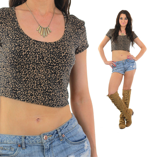 Leopard crop top Animal shirt 80s Crop tee Cropped Graphic Retro Vintage Wildlife Jungle Print Cut off Body con Extra Large - shabbybabe  - 1