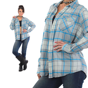 90s Grunge Blue white plaid flannel shirt - shabbybabe  - 2
