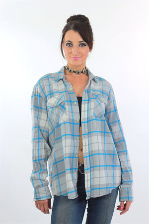 90s Grunge Blue white plaid flannel shirt - shabbybabe  - 3