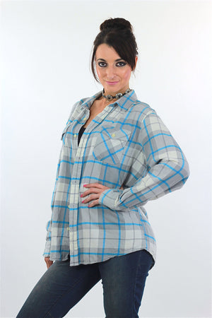 90s Grunge Blue white plaid flannel shirt - shabbybabe  - 4