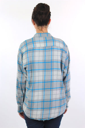 90s Grunge Blue white plaid flannel shirt - shabbybabe  - 5