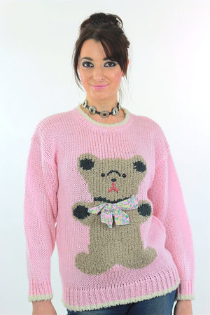 Hand knit pink Teddy Bear sweater - shabbybabe  - 2