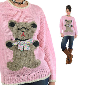 Hand knit pink Teddy Bear sweater - shabbybabe  - 3
