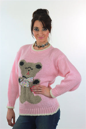 Hand knit pink Teddy Bear sweater - shabbybabe  - 4