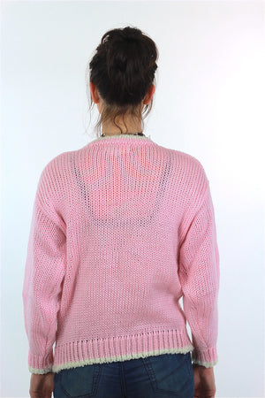 Hand knit pink Teddy Bear sweater - shabbybabe  - 5
