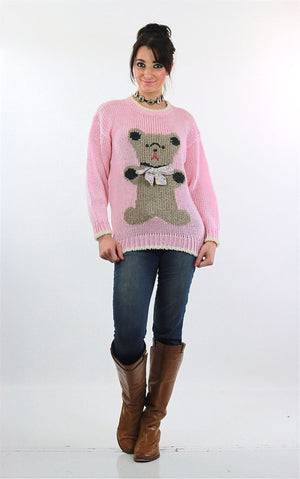 Hand knit pink Teddy Bear sweater - shabbybabe  - 6