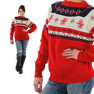 Snowflake Sweater Red white stripe Slouchy oversized Ribbed Preppy nerd Geometric Vintage retro Medium Large - shabbybabe  - 2