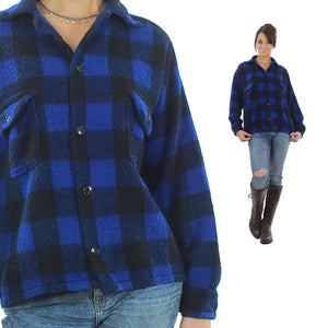 Blue buffalo plaid flannel shirt checkered lumberjack flannel - shabbybabe  - 2