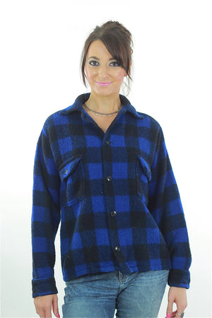 Blue buffalo plaid flannel shirt checkered lumberjack flannel - shabbybabe  - 1