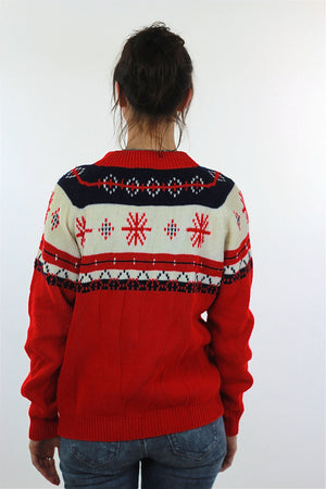 Snowflake Sweater Red white stripe Slouchy oversized Ribbed Preppy nerd Geometric Vintage retro Medium Large - shabbybabe  - 4